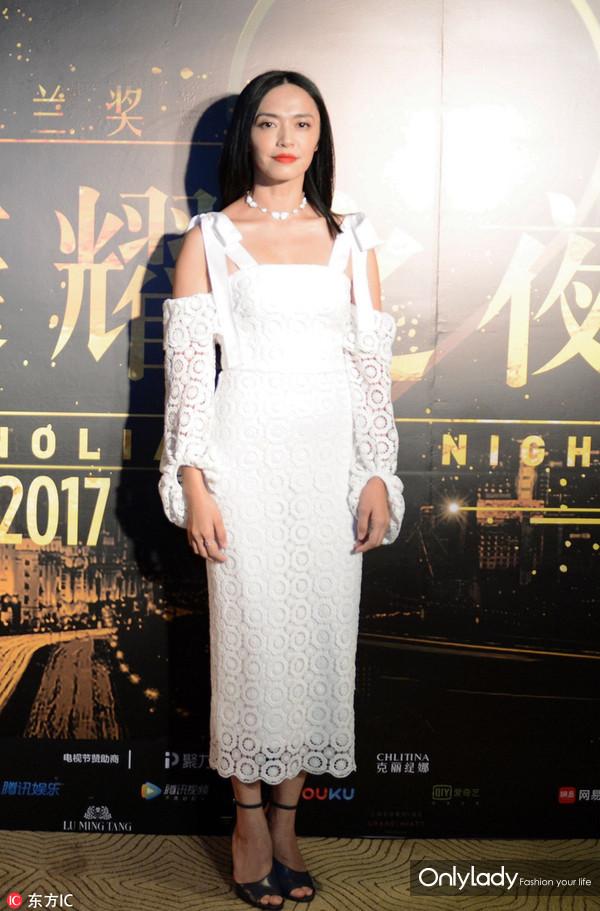 2017年6月15日,上海,众星出席白玉兰奖提名酒会。姚晨连衣裙:Rebecca Vallance