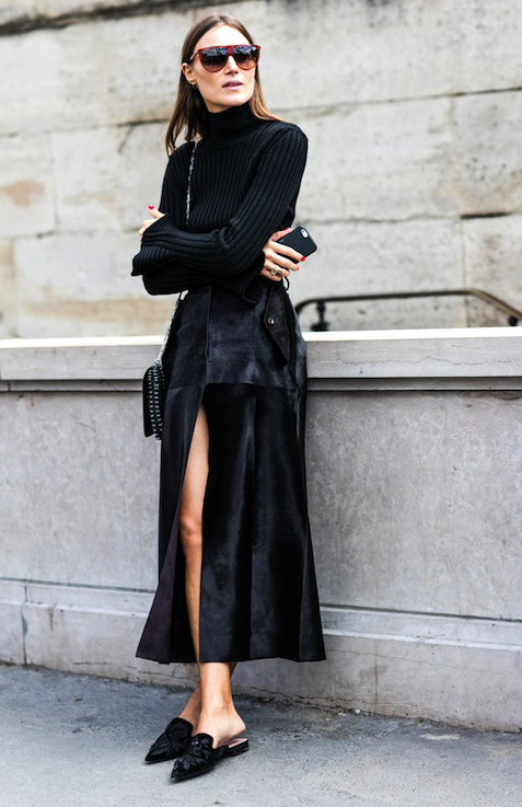 Le-Fashion-Blog-Fall-Street-Style-Giorgia-Tordini-All-Black-Look-Flat-Top-Sunglasses-Flared-Sleeve-Turtleneck-Top-Shoulder-Bag-Suede-Front-Slit-Skirt-Embellished-Pointed-Toe-Mule-Flats