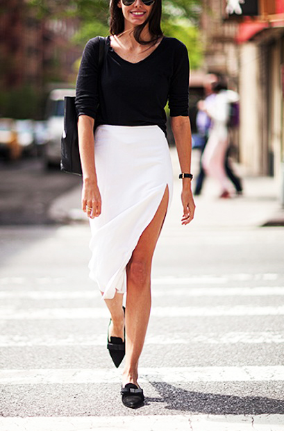 pointy-flats-outfits-with-white-skirt-and-black-blouse