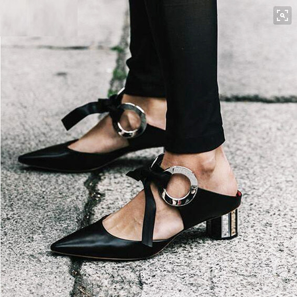 Choudory-Fashion-Front-Lace-Up-Women-Pumps-Black-Patchwork-Eyelet-Ribbon-Sandals-Pointed-Toe-Grommet-font