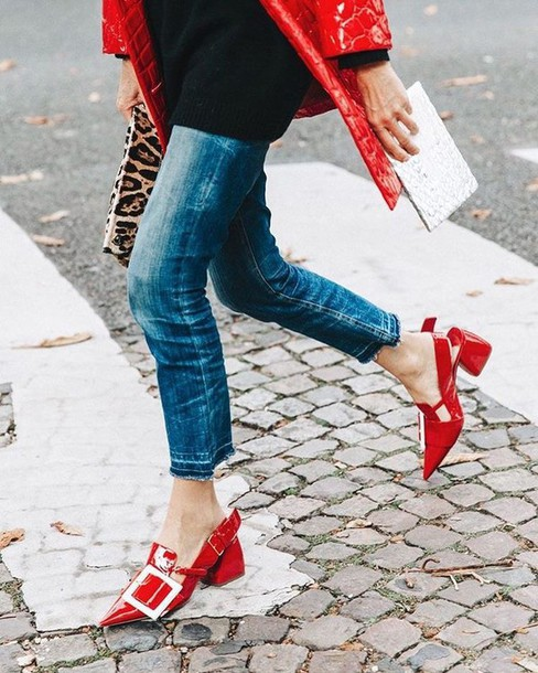 zq5f9d-l-610x610-shoes-tumblr-red+shoes-mid+heel+sandals-slingbacks-pointed+toe-buckles-denim-jeans-blue+jeans-sweater-black+sweater-streetstyle