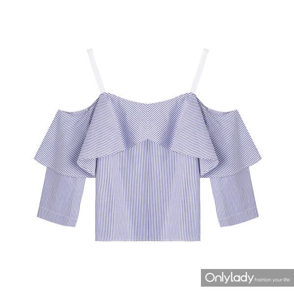 荷叶边条纹吊带衬衫 159