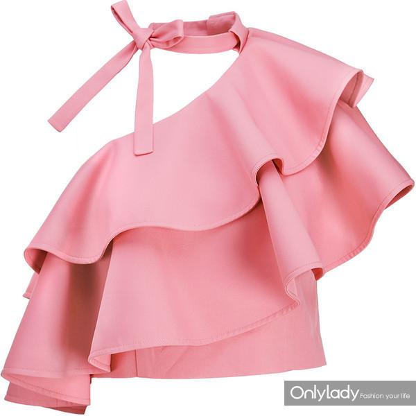 2017夏装新款欧美女装玫粉色单边露肩短款上衣时尚荷叶边 249