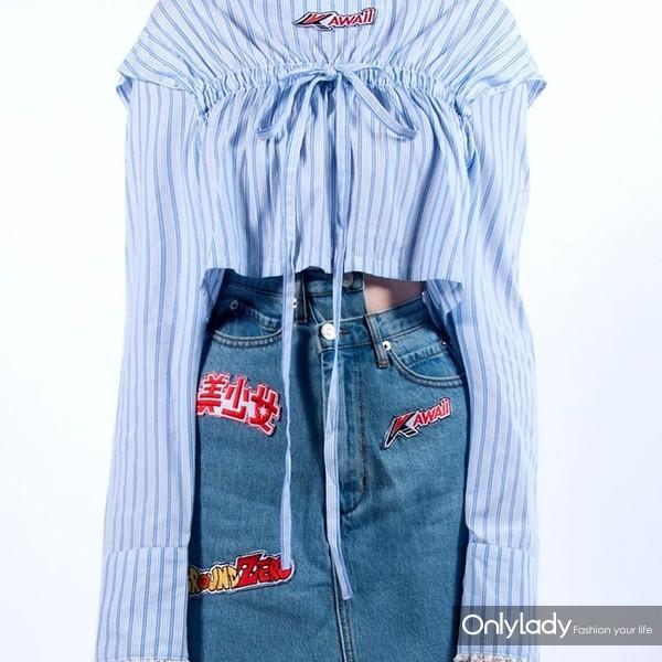 Kawaii 刺绣条纹领带裁缝衬衫1134