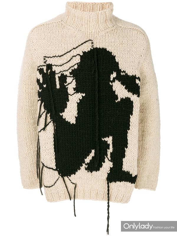 Yohji Yamamoto 刺绣毛衣