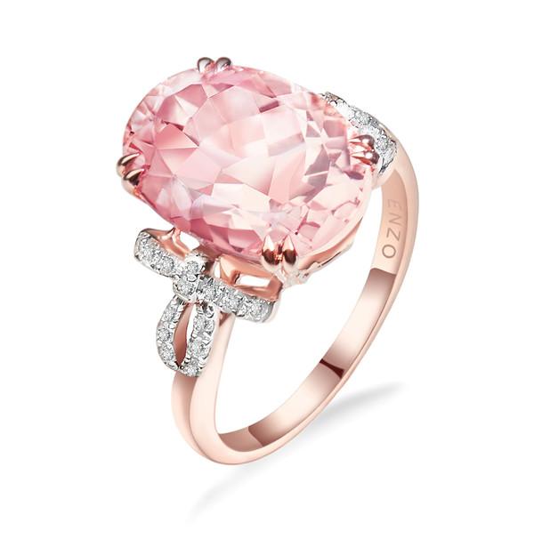 Ribbon丝带系列18K玫瑰金镶摩根石及钻石戒指