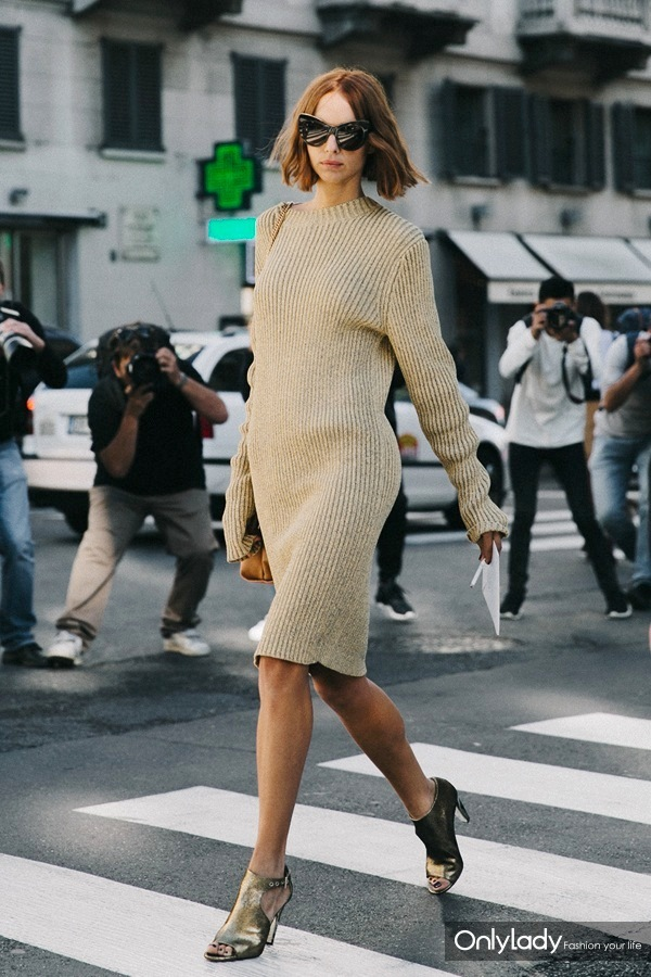 Le-Fashion-Blog-Street-Style-Mfw-Candela-Novembre-Red-Wavy-Bob-Cat-Eye-Sunglasses-Knee-Length-Tan-Ribbed-Sweater-Dress-Metallic-Heeled-Sandals-Via-Collage-Vintage