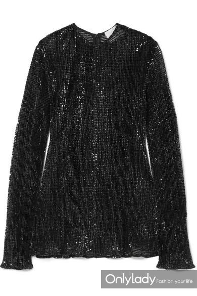 Georgia Alice Pageant 褶皱亮片绢网上衣