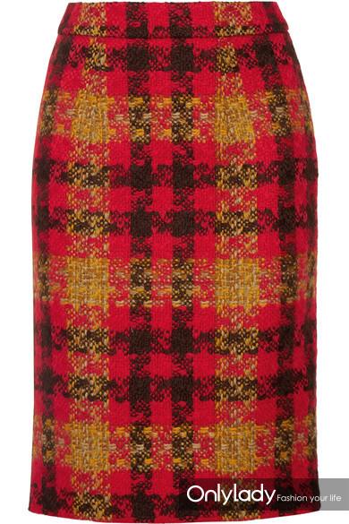 Miu Miu 格纹羊毛花呢半身裙