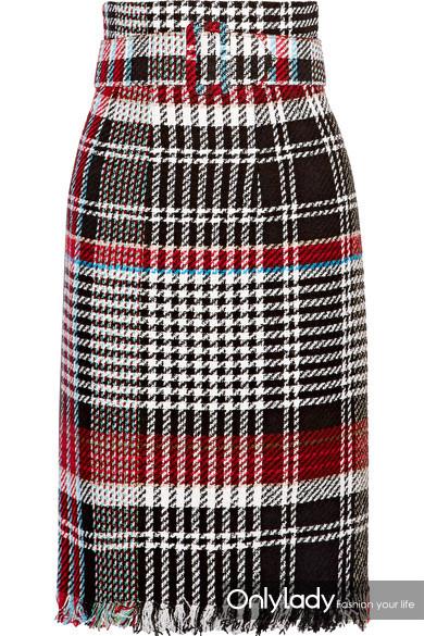Oscar de la Renta 配腰带流苏格纹棉质混纺花呢半身裙