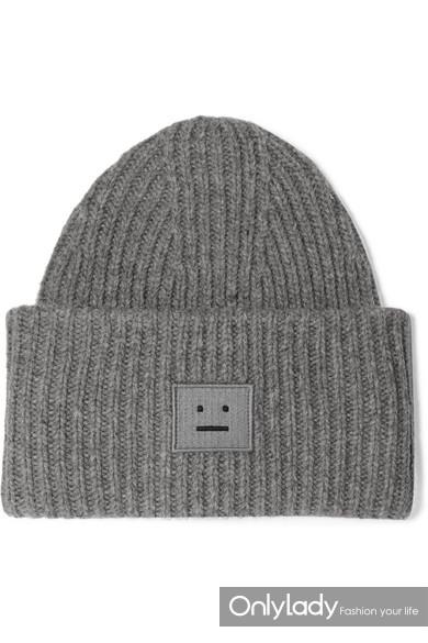 Acne Studios Pansy 贴花罗纹羊毛毛线帽