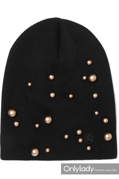 Maison Michel Elvis 带缀饰罗纹羊毛毛线帽