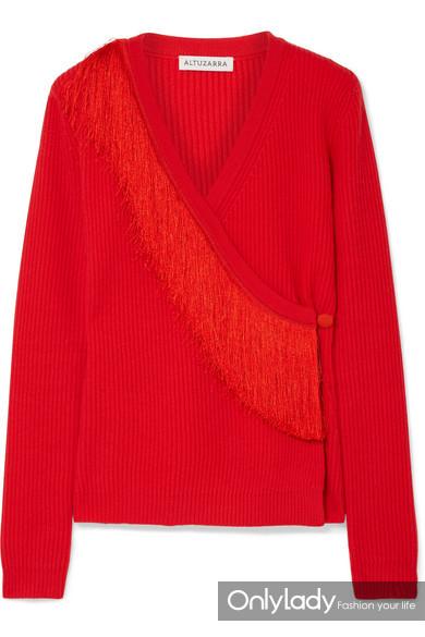 Altuzarra Daumier 流苏罗纹美利奴羊毛围裹式毛衣