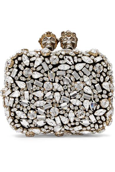 Alexander McQueen 施华洛世奇水晶缀饰皮革手拿包