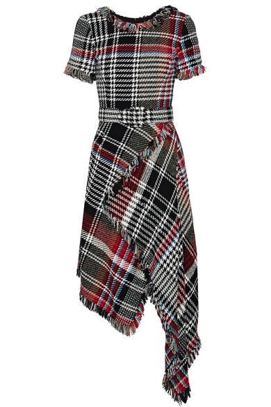 Oscar de la Renta 不对称流苏格纹棉质混纺花呢中长连衣裙