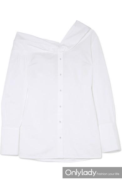 Victoria Beckham 单肩纯棉府绸衬衫