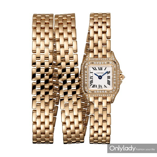 Panthère de Cartier猎豹腕表,三圈款,18K玫瑰金,表圈镶嵌钻石