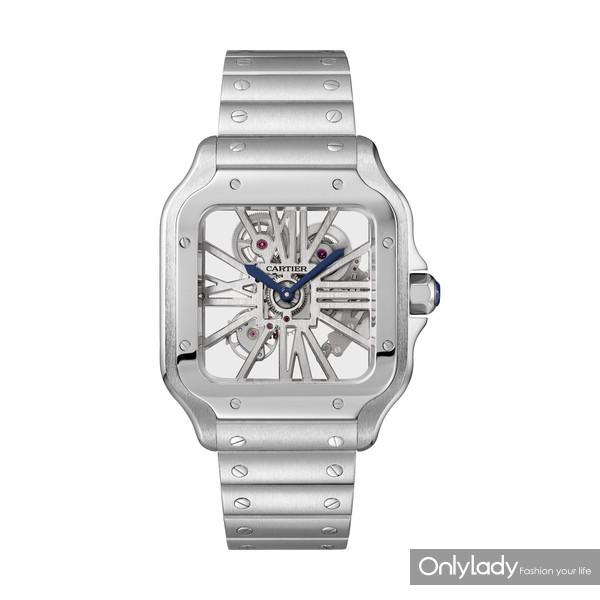 Santos de Cartier系列镂空腕表,大号款,精钢(1)