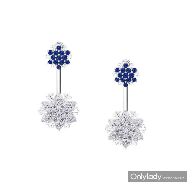 Snowflake雪花系列18K白金镶蓝宝石及钻石耳饰