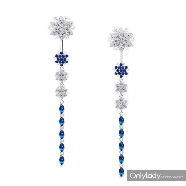 Snowflake雪花系列18K金镶蓝宝石及钻石耳饰 (2)