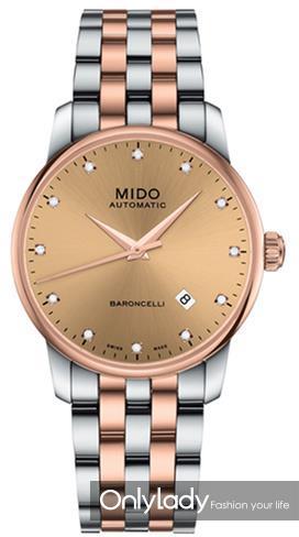 瑞士美度表BARONCELLI贝伦赛丽系列玫瑰金间金款长动能真钻男士腕表