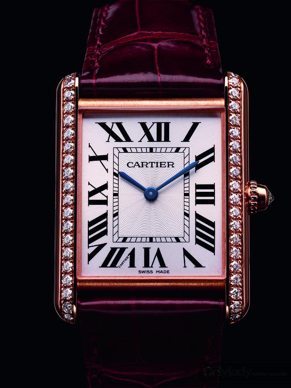 2. Tank Louis Cartier腕表,大号表款,18K玫瑰金,镶嵌明亮式切割圆钻,卡地亚8971MC型工作坊精制,手动上链机械机芯