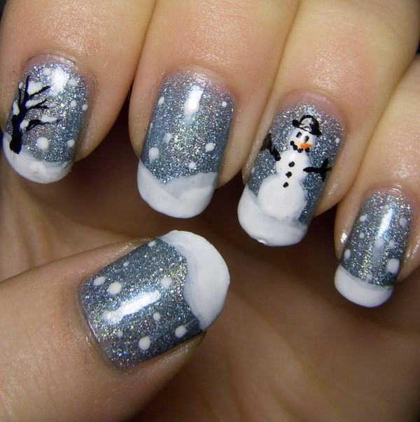 Grey-Glitter-Gel-Nails-With-Snowman-Design-Winter-Nail-Art1