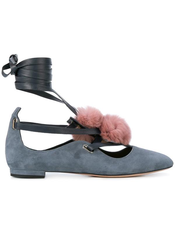 FRANCESCA MAMBRINI 绒球细节平底鞋