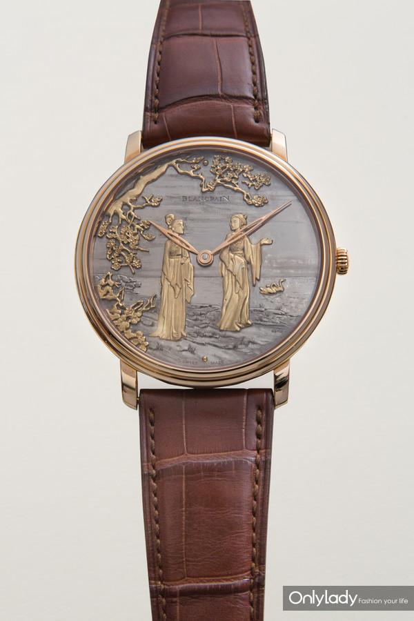 宝珀Villeret经典系列大马士革镶金工艺腕表