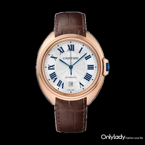 图14. Clé de Cartier系列腕表,18K玫瑰金,皮表带