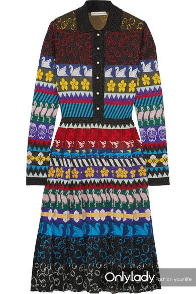 Mary Katrantzou Cecile 卢勒克斯织物提花针织褶裥中长连衣裙