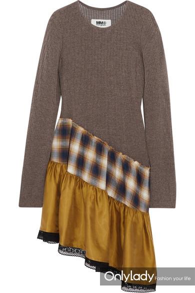MM6 Maison Margiela 蕾丝边饰镂空针织格纹纯棉水洗缎布不对称连衣裙