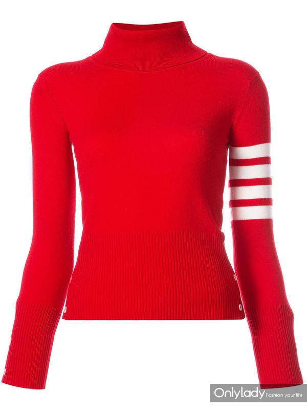 THOM BROWNE 红色羊绒高领条纹毛衣