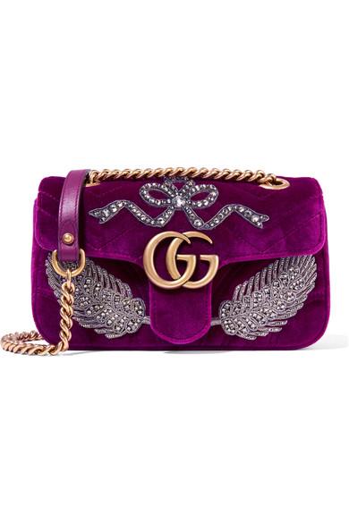 Gucci GG Marmont 带缀饰天鹅绒小号单肩包