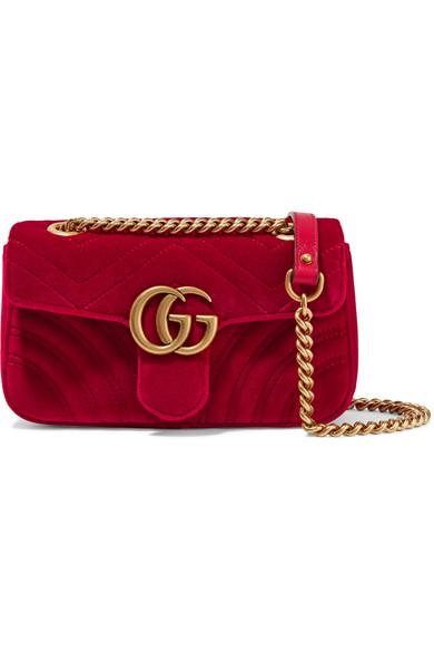 Gucci GG Marmont 迷你绗缝天鹅绒单肩包