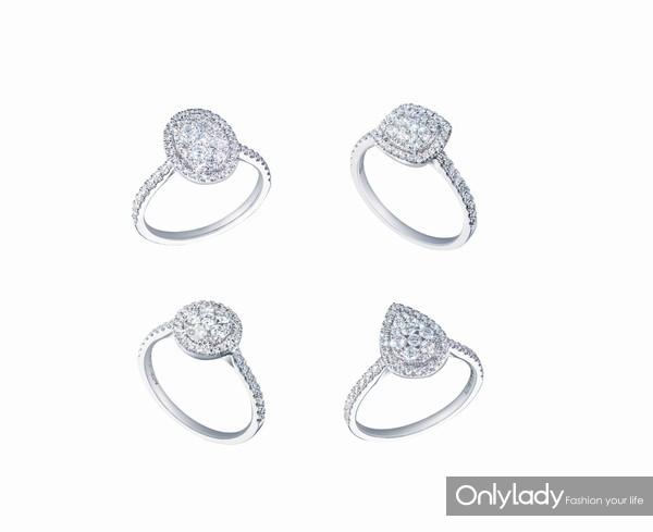 配图1-18K白色黄金配镶白色钻石戒指