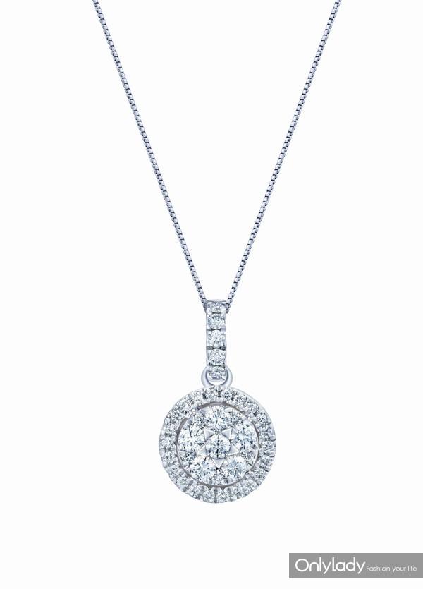 配图2-18K白色黄金配镶白色钻石项链左:参考价格RMB 9,990元