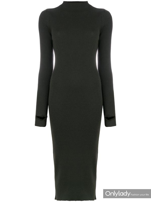 PORTS 1961罗纹高领毛衣式连衣裙
