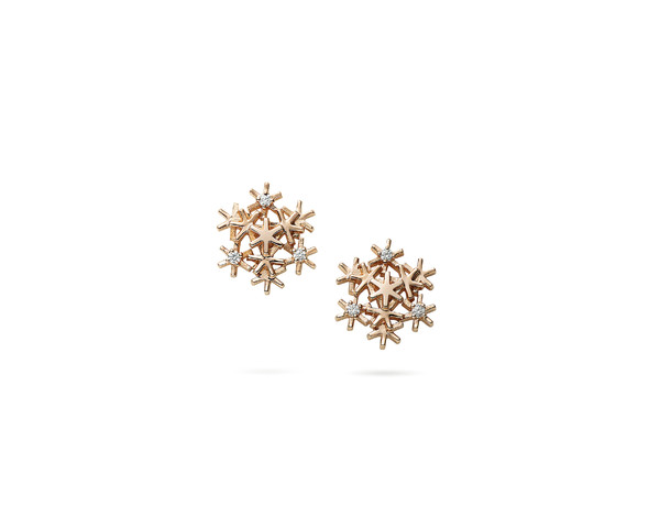 [GE00348] Earrings in 18KPG, Diamonds (Christmas Motif)