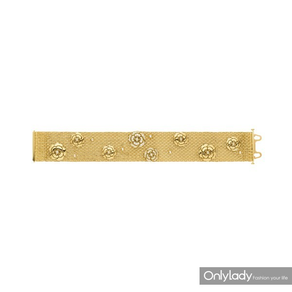 Bracelet Impression Camelia or jaune et diamants