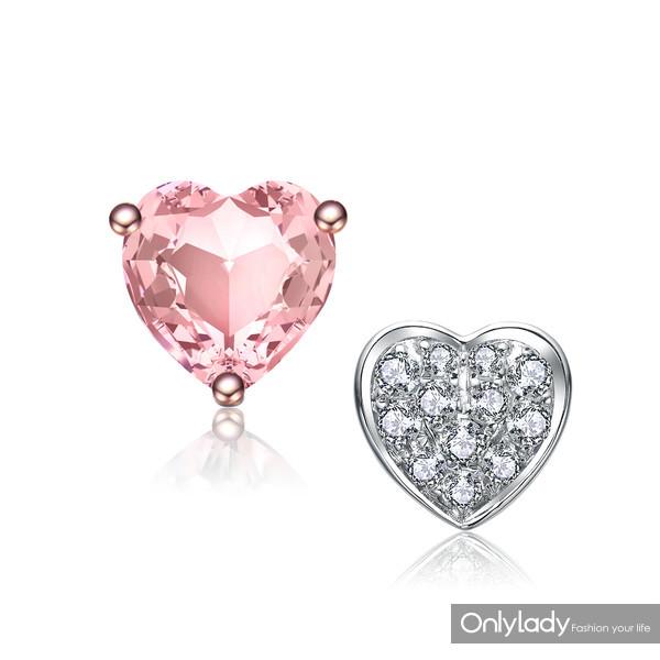 18K玫瑰金镶摩根石钻石耳环