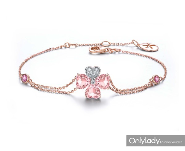18K玫瑰金镶摩根石钻石手链