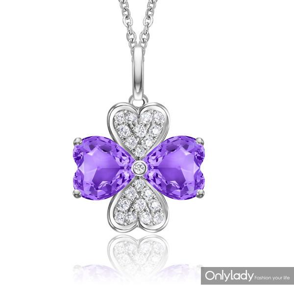 Clover四叶草系列18K白金镶紫晶及钻石吊坠