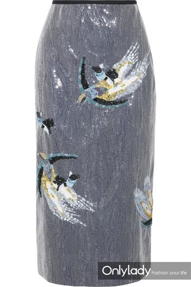 Erdem Sacha 亮片装饰绉纱中长半身裙