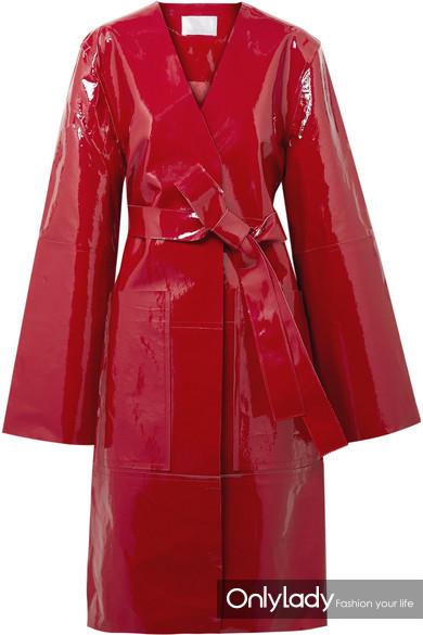 Solace London Safina 配腰带漆皮大衣