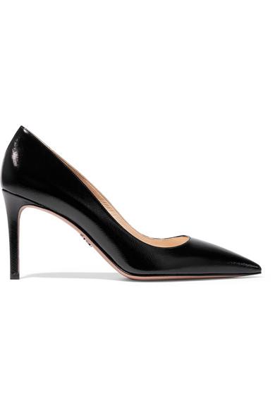 Prada 亮面纹理皮革高跟鞋