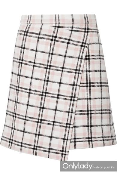 Carven 格纹羊毛混纺不对称迷你半身裙