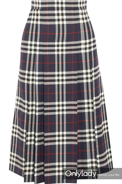 Burberry 褶裥格纹羊毛中长半身裙