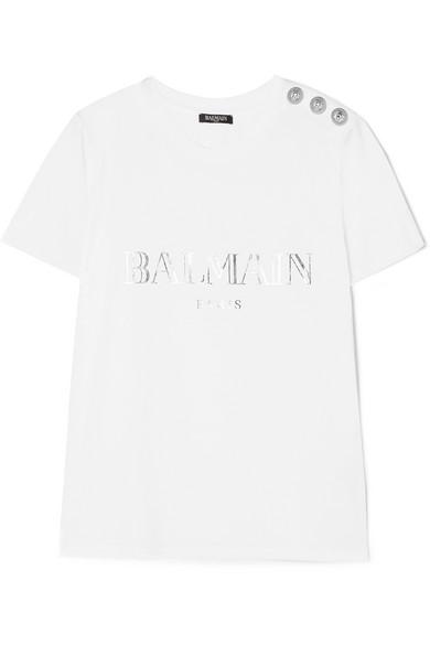 Balmain 纽扣缀饰印花纯棉平纹针织 T 恤