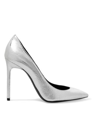 Saint Laurent Anja 金属感纹理皮革高跟鞋